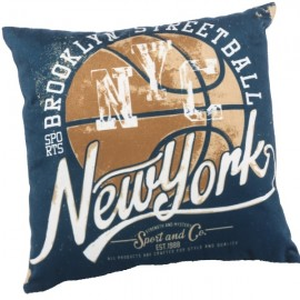 BASKET - Coussin 30 x 30 cm Velours Imprimé New York