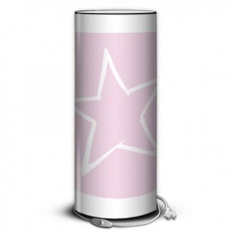 STAR - Lampe de Chevet 30 cm Rose imprimée Etoile