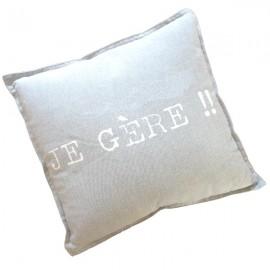 MANAGER - Coussin 40 x 40 cm Gris Coton Message Imprimé Blanc