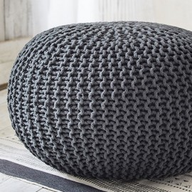 COCON XL - Grand Pouf Rond Tressé Gris Anthracite 50 x 40 cm