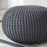 COCON XL - Grand Pouf Rond Tressé Gris Anthracite 50 x 40 cm