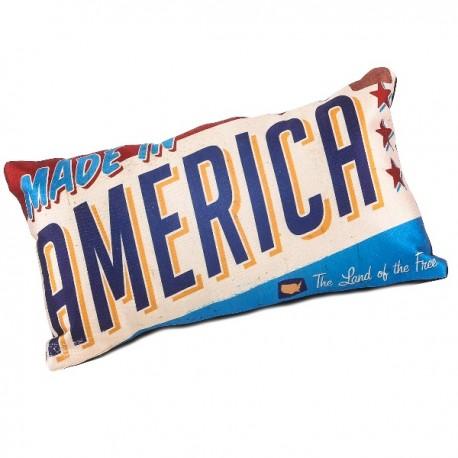 AMERICA - Coussin 20 x 35 cm Satin Imprimé USA