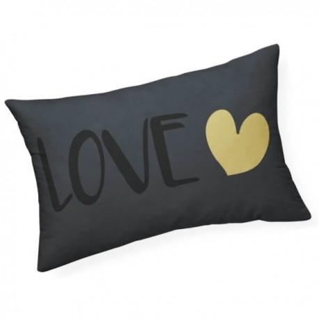 LOVE - Coussin 30 x 50 cm Noir - Imprimé Or Coeur Noir