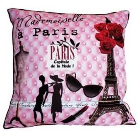 Coussin 40x40 Mademoiselle à Paris, déco chic Tour Eiffel