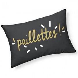 PAILLETTES - Coussin 30 x 50 cm Noir - Imprimé Or