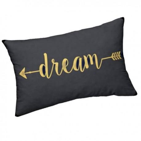 DREAM - Coussin 30 x 50 cm Noir - Imprimé Or