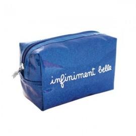 INFINIMENT BELLE - Trousse de Toilette Fille - Bleu Glitter