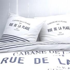 PLAGE - Housse de Couette 220 x 240 cm - Blanc Imprimé Bleu