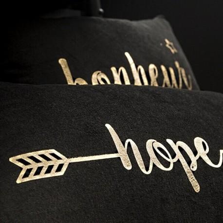HOPE - Coussin 30 x 50 cm Noir - Imprimé Or