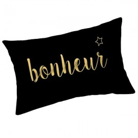 BONHEUR - Coussin 30 x 50 cm Noir - Imprimé Or