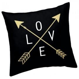 LOVE - Coussin 40 x 40 cm Noir - Imprimé Or
