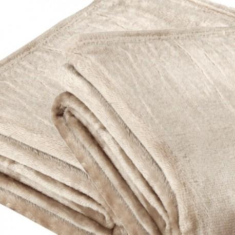 SABLE - Plaid Polaire 150 x 200 cm - Couvre Lit Beige