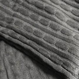 JUSTIN - Plaid Gris Foncé 125 x 150 cm - Couverture Tricot