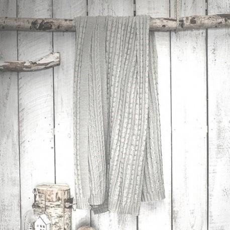 CHARLES - Plaid Gris Clair 125 x 150 cm - Couverture Tricot