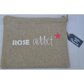 Pochette ROSE ADDICT - Fabrication française en lin naturel