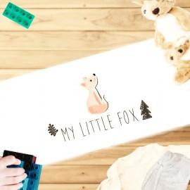 ROX - Tapis Blanc Enfantin - Coton Imprimé Renard Roux