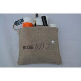 Pochette ROSE ADDICT en lin naturel - Couleur argile - Fabrication française