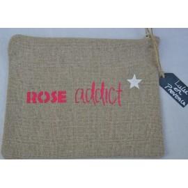 Pochette ROSE ADDICT fuschia - Fabrication française en lin