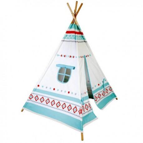 TOGO - Tipi d'Indien Enfant - Bois et Coton - Motif Far West