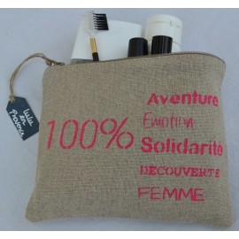 Pochette 100% Aventure fuschia - Trousse en lin naturel - Made in France