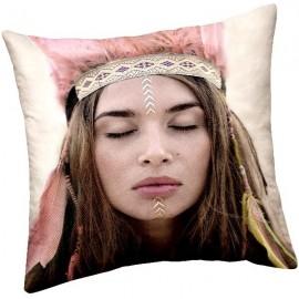 COLETTE - Coussin 40 x 40 cm - Design Visage Fille Hippie