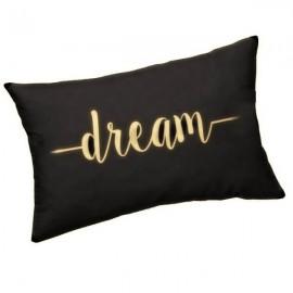 DREAM - Coussin Noir Rectangle 25 x 30 cm - Imprimé Or