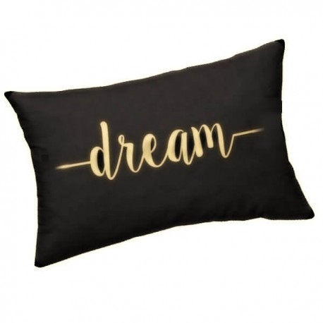 DREAM - Coussin Noir Rectangle 25 x 30 cm - Imprimé Or