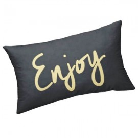 ENJOY - Coussin Noir Rectangle 25 x 30 cm - Imprimé Or