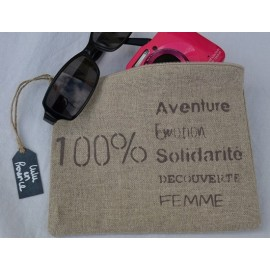 Pochette 100% Aventure argile en lin - Made in France