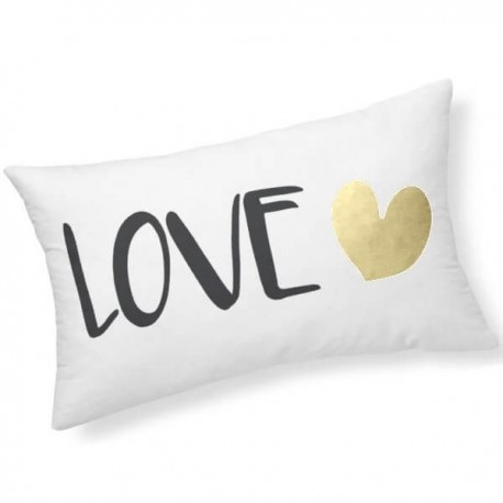 LOVE - Coussin Blanc Rectangle 25 x 30 cm - Imprimé Or