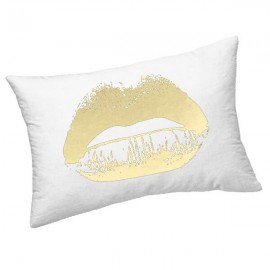 LIPS - Coussin Blanc Rectangle 25 x 30 - Motif Lèvres Or