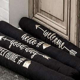 HELLO - Boudin Bas de Porte - Chien Coton Noir - Motif Or