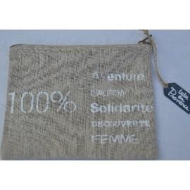 Pochette 100% Aventure imprimé blanc - Lin naturel - Fabriquée en France