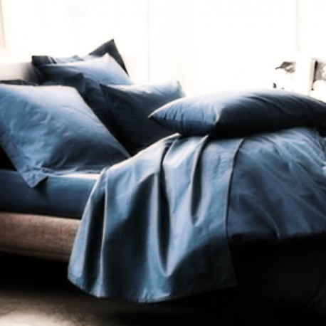 AZUR - Housse de Couette 220x240 cm Unie Bleu Topaze
