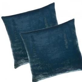 DALLAS - Housse de Coussin 40 x 40 cm - Velours Uni Bleu