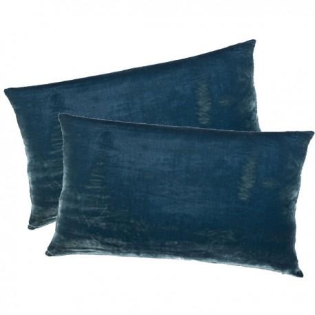 DALLAS - Housse de Coussin 30 x 50 cm - Velours Uni Bleu