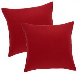 CAPUCINE - 2 Housses de Coussin 40 x 40 cm - Uni Rouge