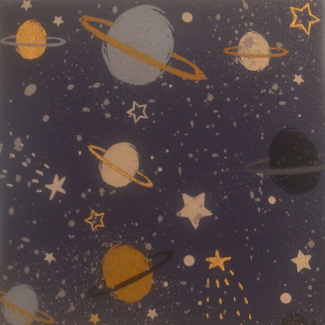 CELESTE - Toile imprimée Planètes - Cadre en bois 20 x 20 cm