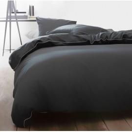 MELINA housse de couette 220x240 cm - parure lit 2 personnes - gris/rose