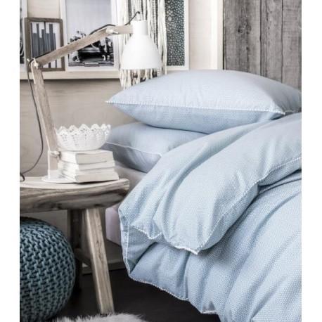 COSY - Housse de couette 220x240 cm - parure lit 2 personnes - motifs bleu/blanc