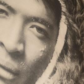 YUMA - Coussin 40 x 40 - Motif Portrait Visage Esquimaux