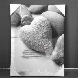 GALETS - Toile Imprimée Zen - Cadre en bois 30 x 40 cm