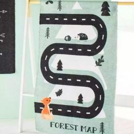 CIRCUIT - Tapis 60 x 120 cm - Coton Vert - Imprimé Forêt