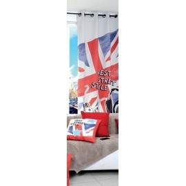 Voilage Union Jack 135x250 cm 8 oeillets decoration chambre adolescent London