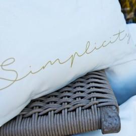 SIMPLICITY - Coussin 60 x 40 cm - Blanc Imprimé Message