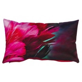 Coussin CANCAN satin de coton rose motif plumes 30x50 cm