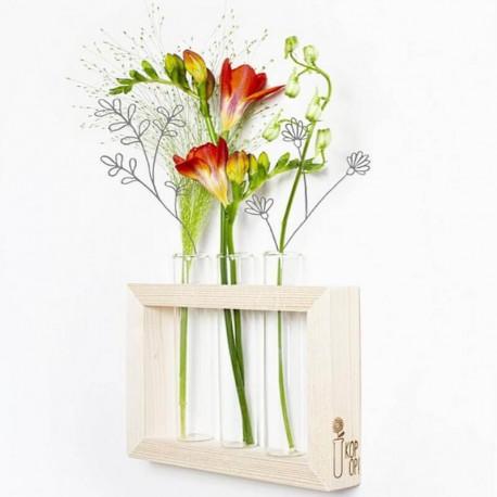 TRIO - Cadre Bois Fleuri - Vase à Fleurs - 3 Tubes à essais