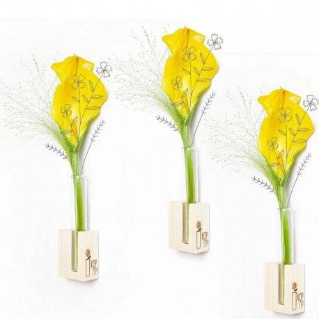 SOLINE - Socle en Bois Brut - Vase à Fleur - 1 Tube à essai