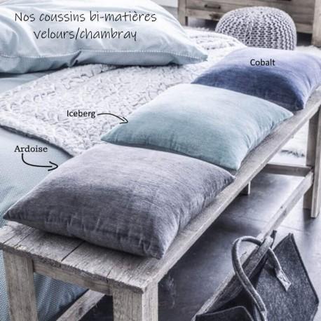 COBALT - Coussin 40x40 Bleu Uni - Coton Chambray Velours