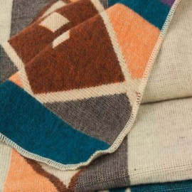 TARA - Plaid Ethnique 200 x 235 cm - Tissé Alpaga Coton